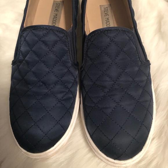 Navy Blue Steve Madden Slip On Sneakers